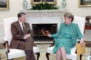 12/11/1984 President Reagan meeting with Jeane Kirkpatrick in the Oval Office